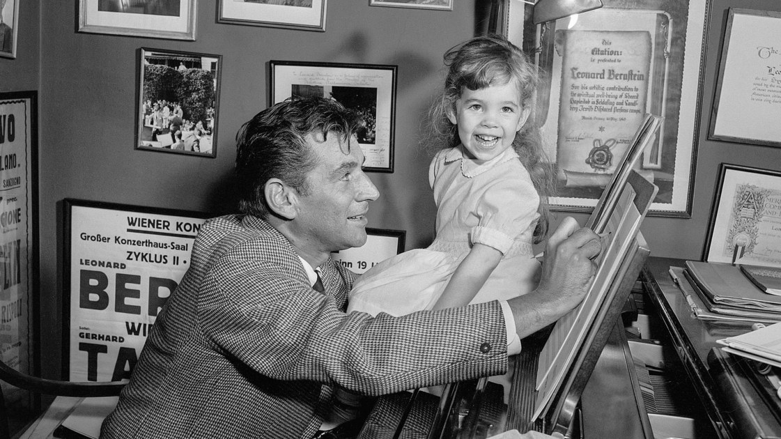 bernstein with his daughter on piano