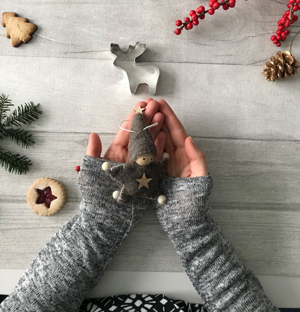 flatlay, hand holding christmas present, cookies, weihnachtskekse