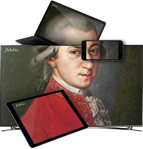 mozart in TV tablet, ipad, smartphone