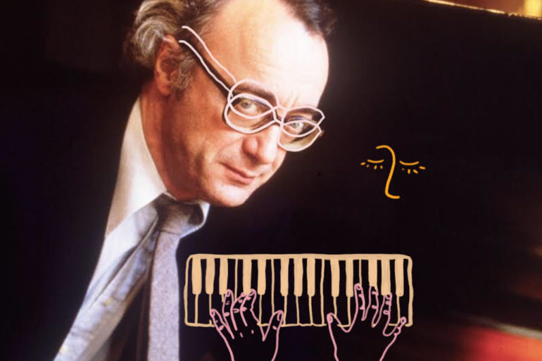 Alfred Brendel drawing on photo